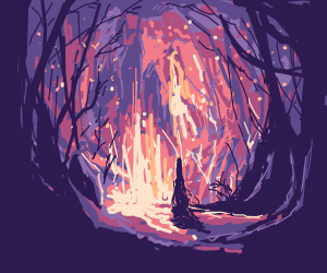 Woman in magic forest
