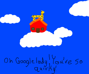 Giraffe next to his/her house on a cloud