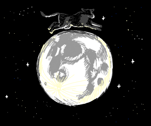 Flying cow over the moon