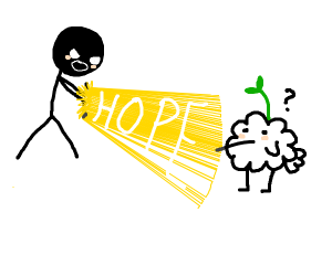 Man shoots beam of hope from his hands