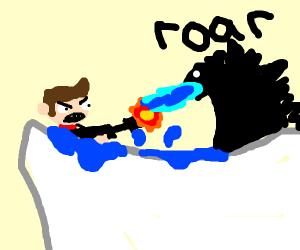 Guy fights Leviathan in a bathtub