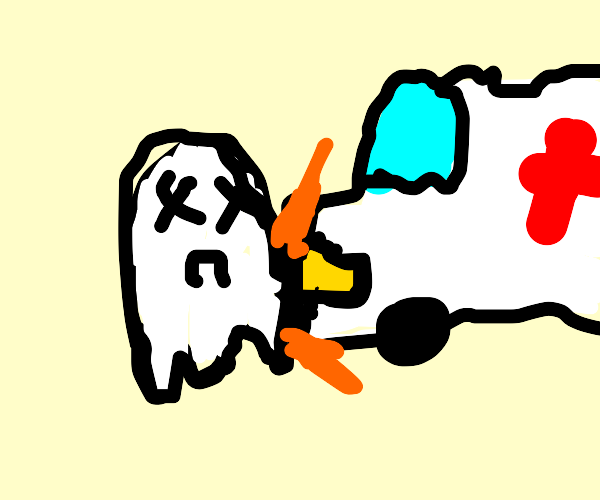 Ghost getting hit by an ambulance
