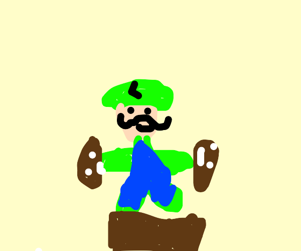 Luigi and goombas form a totem