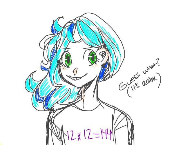 Anime Cyan-Headed Girl