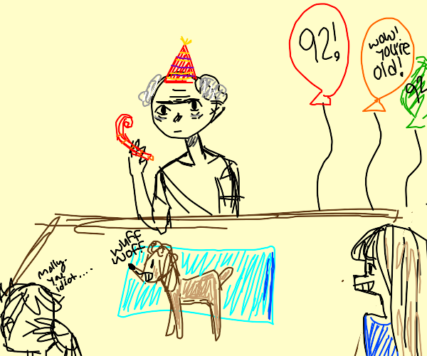 old man with party hat