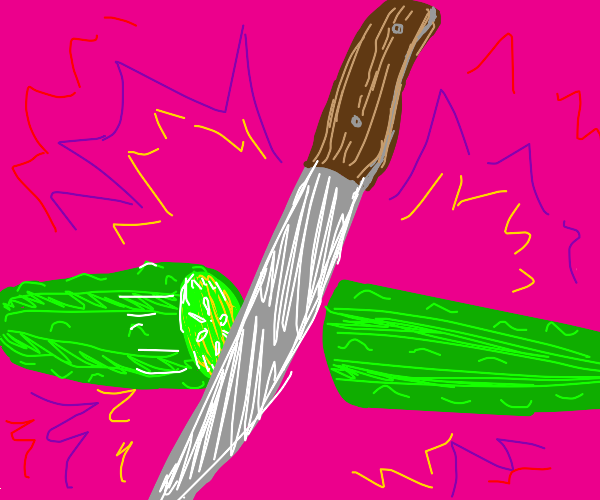 Knife cuts pickle in half
