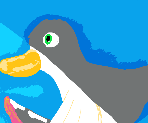 A duck with a knife