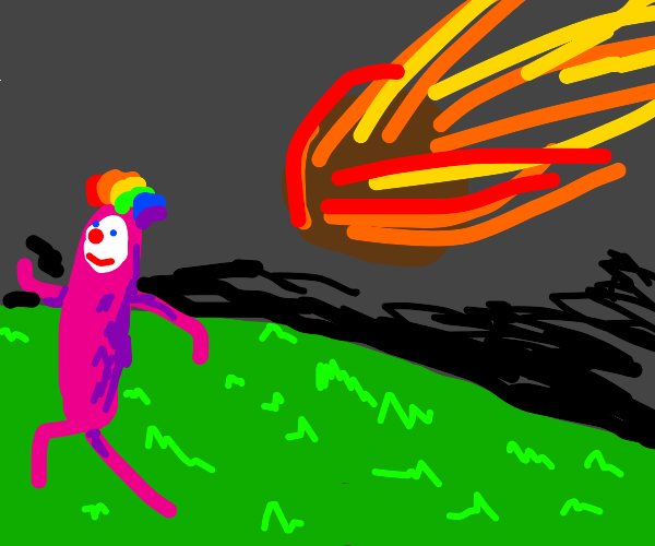 asteroid about to hit clown hot dog