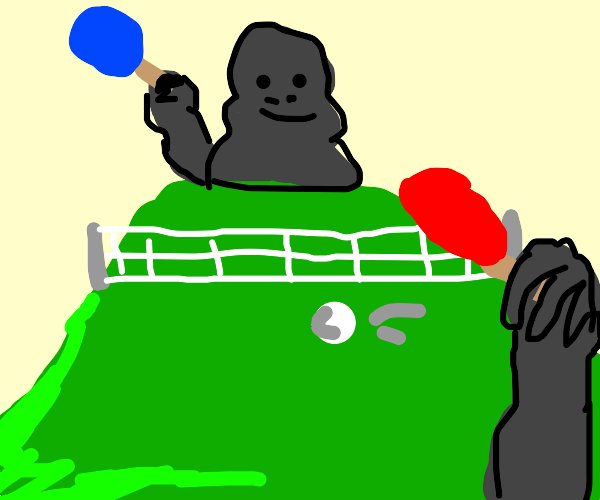 POV Gorilla playing table tennis