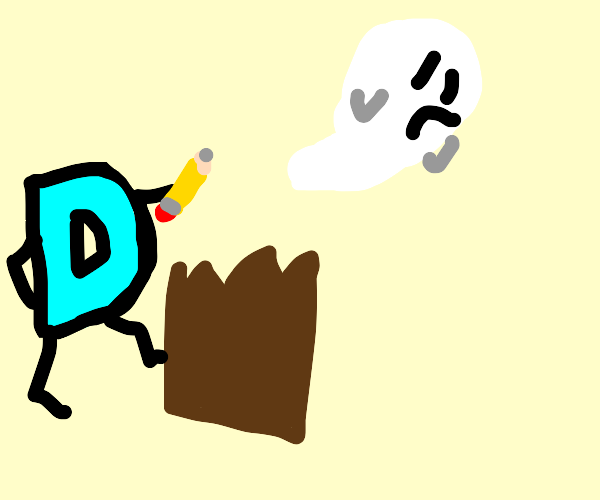 Drawception D exorcising paperbag ghosts