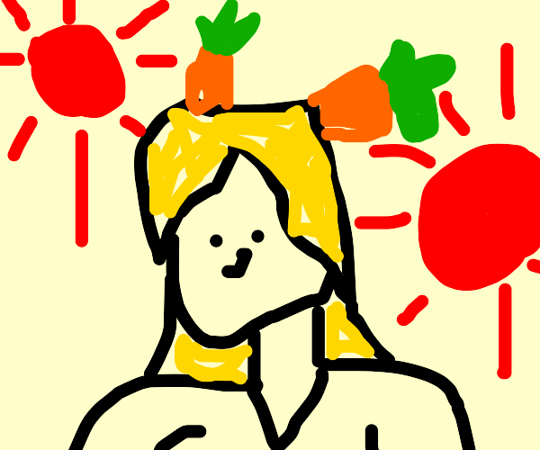 Lady with 2 carrots in hair and big red suns