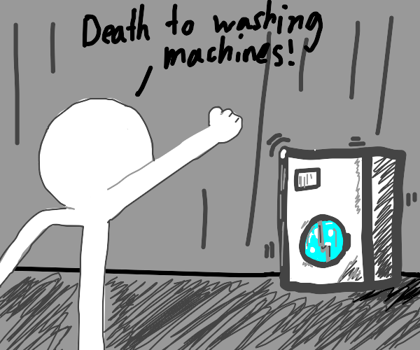 clenches fist at washing machine