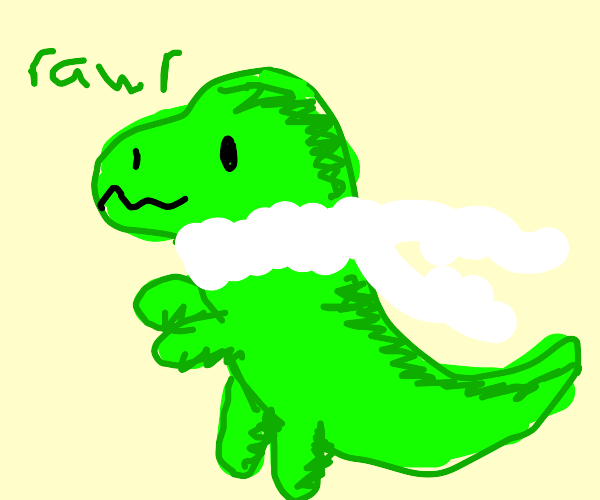 Dinosaur With a White Scarf