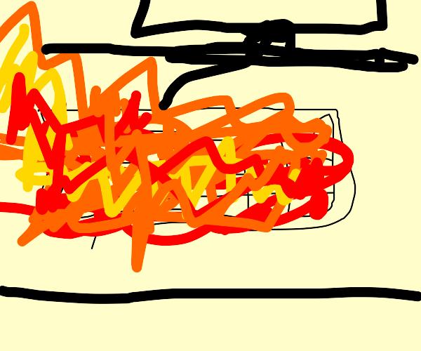 human keyboard on fire