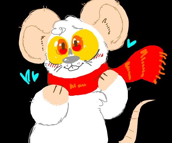 Cute white mouse wrapped in cozy red scarf