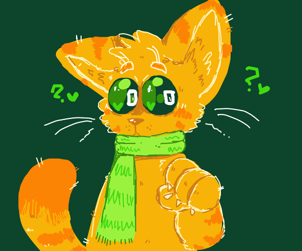 Cute tabby cat in green scarf