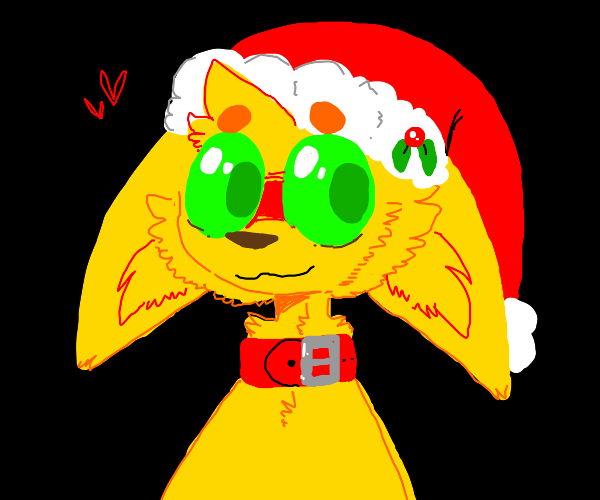 Yellow cat with a christmas hat and collar