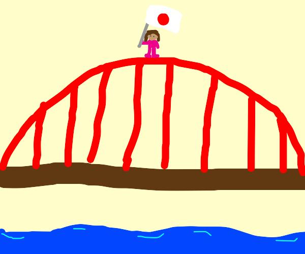 Japanese woman on top of red bridge