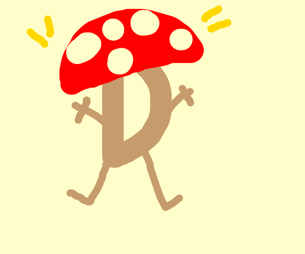 The drawception D hit it off with a mushroom.