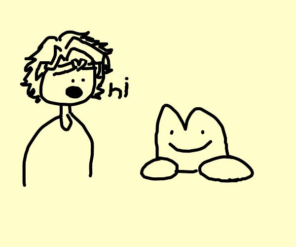 jojo character says hello to a frog.