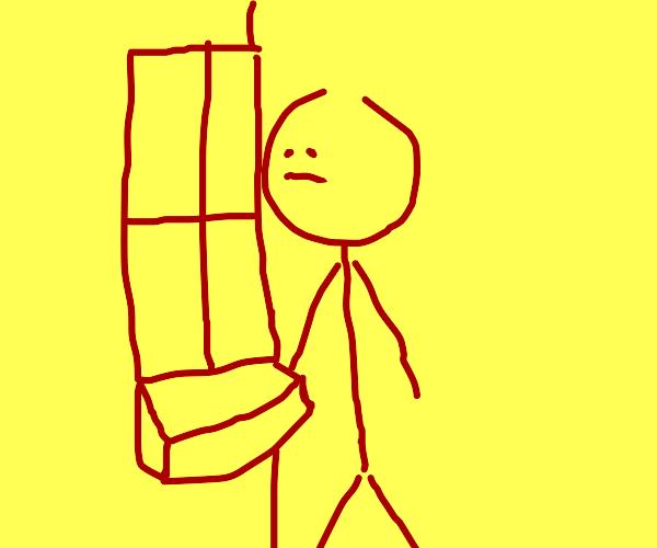Sad yellow and red man