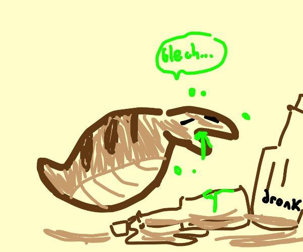 A snake sick after drinking alcohol