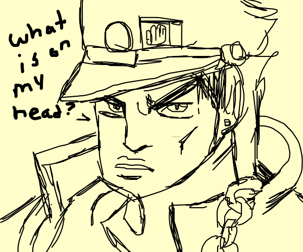 Jotaro Kujo but hes confused about his hat