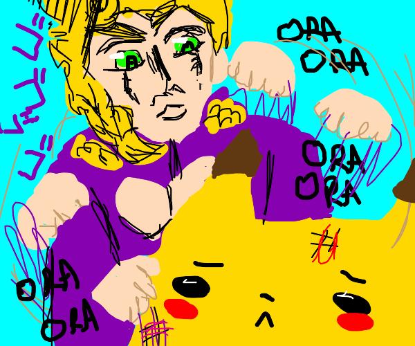 Giorno ORA's a pikachu (jjba)