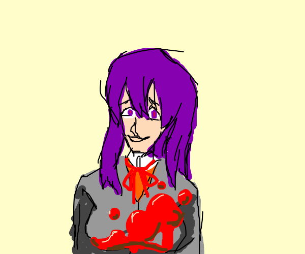 Yuri from DDLC covered in blood
