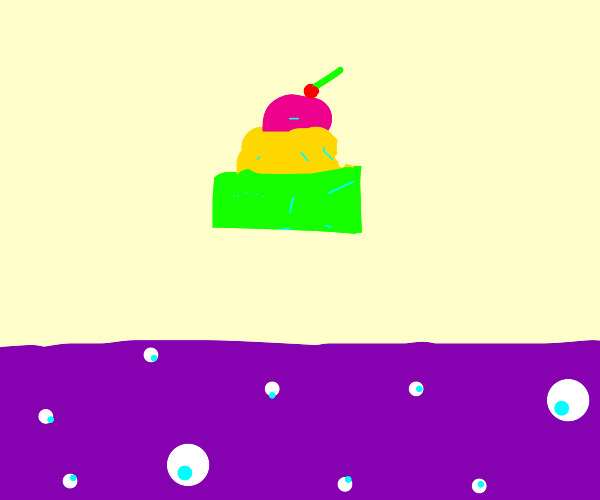 Levitating neon cake over grape soda ocean