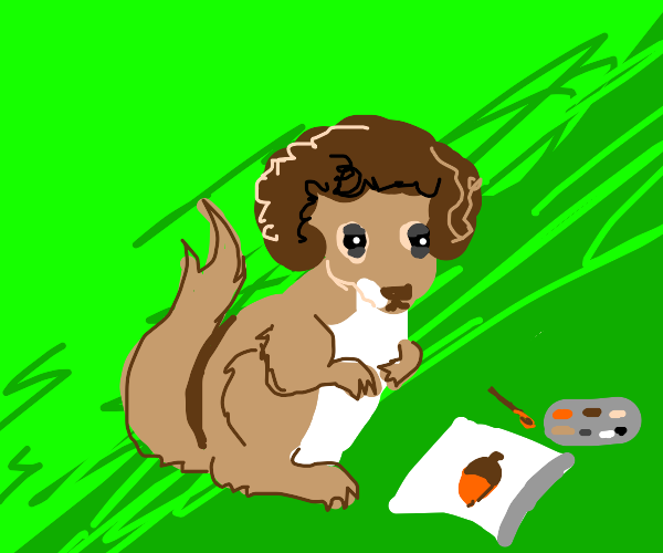 Bob Ross turned into a squirrel