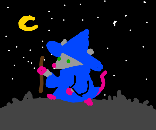 Rat wizard out at night