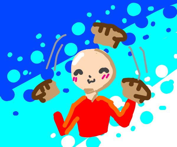 Guy loves juggling bread