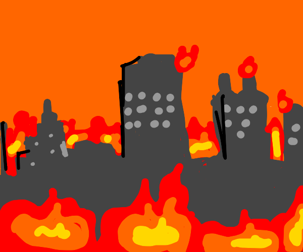 The town is burning doem