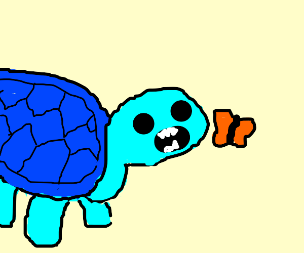 Blue turtle about to eat a butterfly