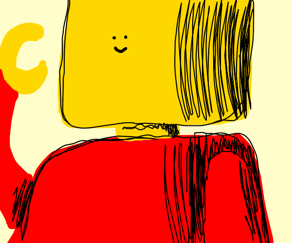 Lego head with tiny face