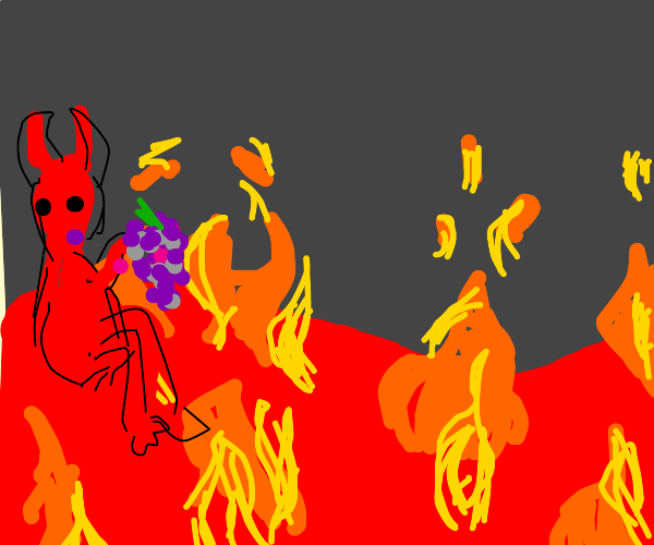 Devil eating grapes