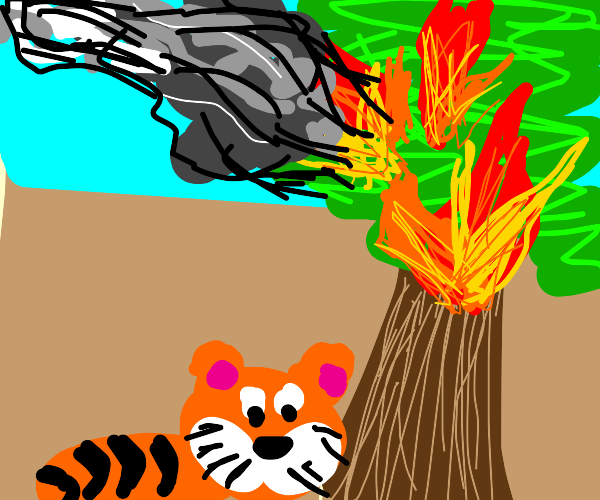 Tiger Under a Burning Tree