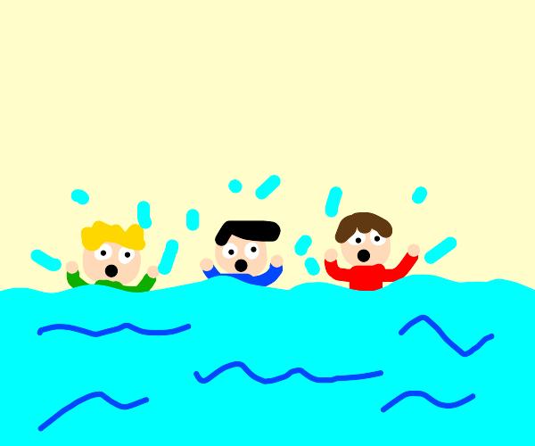 three men drowning