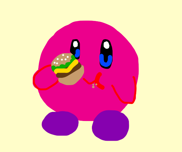 Kirby with purple shoes eating cheeseburger