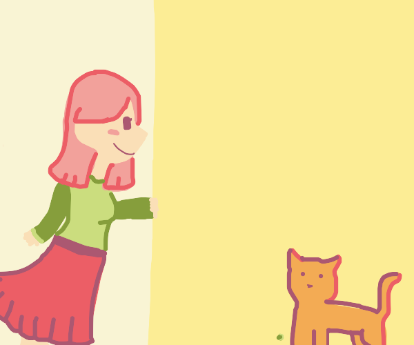 Girl sees cat around corner and pea