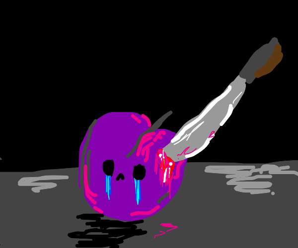 Crying plum with a knife