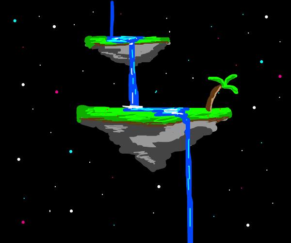 2 floating islands in space w/ waterfall