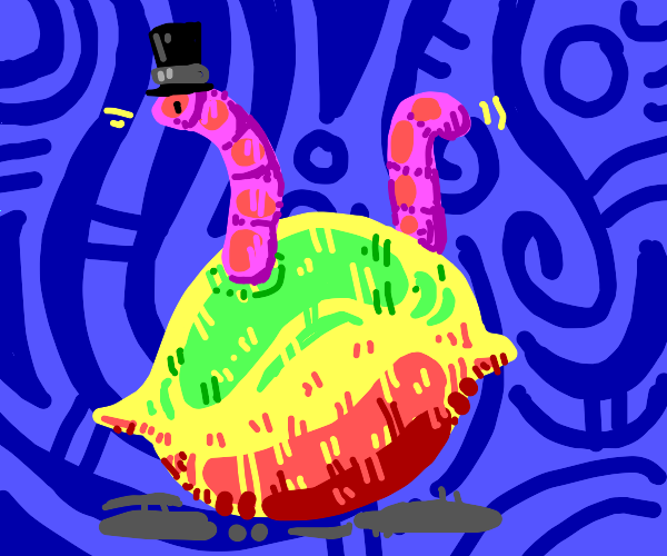 worm with tophat is in a lemon