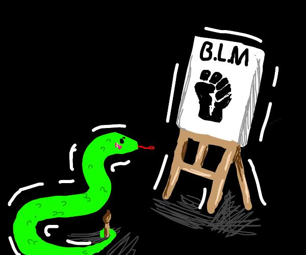 Artist snake paints B.L.M