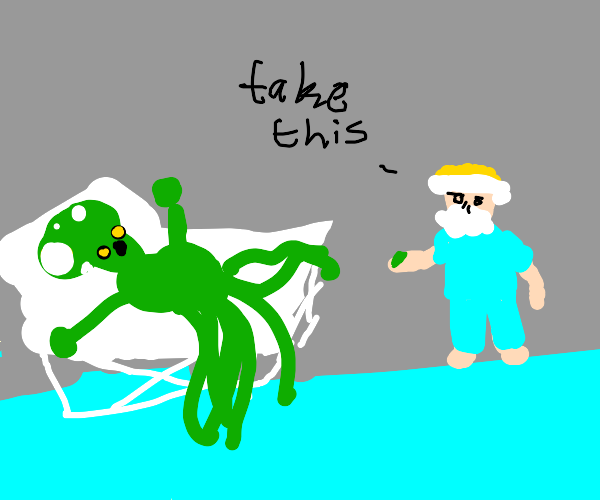 doctor gives a weird green thing to a alien