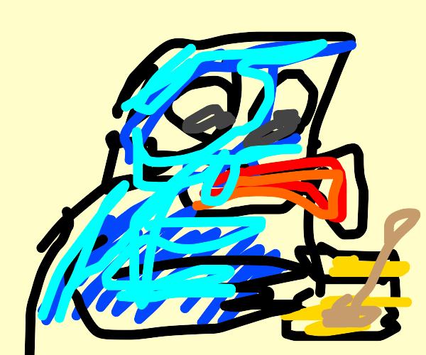 Cookie Monster eating honey