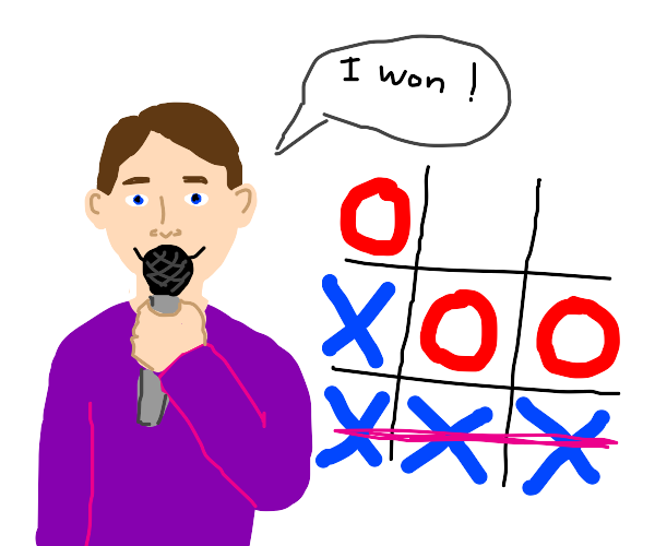 Man with microphone plays tic tac toe