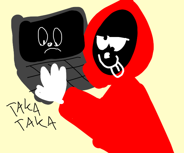 Guy in red coat on the computer