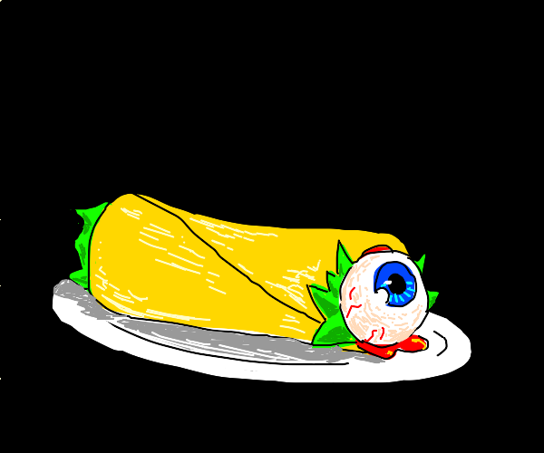 a burrito on a plate, but the edge is an eye